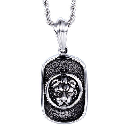 Delicate Tiger Head Pattern Plate Titanium Steel Men's Necklace