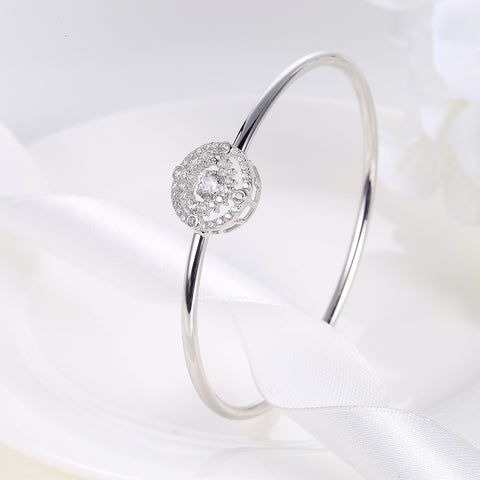 Sterling Silver Double Layer Sunflower Diamond Inlaid Round Dancing Diamond Bangle