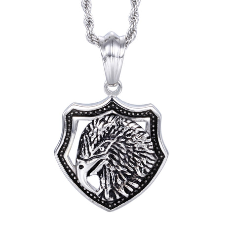 Dinstinctive Eagle Head Plate Titanium Steel Men's Necklace