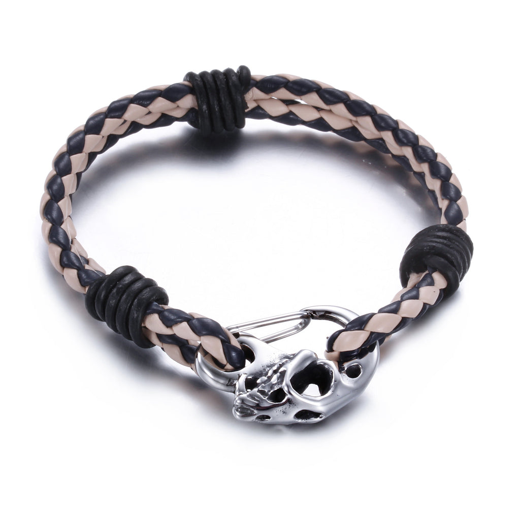 Original Skull Head and Knitted Bell Titanium Men's Bracelet