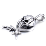 Fashion Skull Head and Double swords Pattern Titanium Men's Necklace