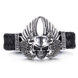 Gorgeous Skull Head with Wings Titanium Steel Men's Bracelet