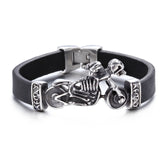Skeleton on the Motorbike Pattern Titanium Steel Men's Bracelet