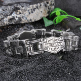 Characters Engraved Bycicle Chain Pattern Titanium Steel Men's Bracelet