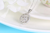 Sterling Silver Blooming Flower Round Dancing Diamond Pendant Necklace