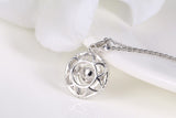 Sterling Silver Inside a Flower Round Dancing Diamond Pendant Necklace