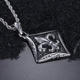 Cruciate Flowers Diamond-shaped  Plate Titanium Steel Men's Necklace
