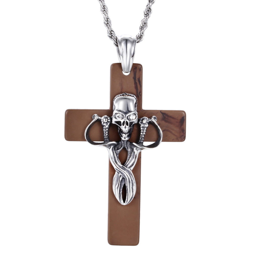 Skull Head on Crisscross Titanium Steel Men's Necklace