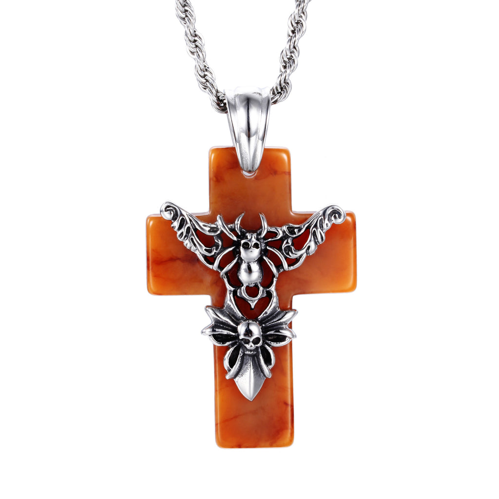 Angle and Ghost Pattern Crisscross Men's Necklace