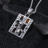 Ghost Head and Totem Pattern Plate Titanium Steel Men's Necklace