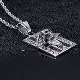Ghost Head with Wings Pattern Plate Titanium Steel Men's Necklace