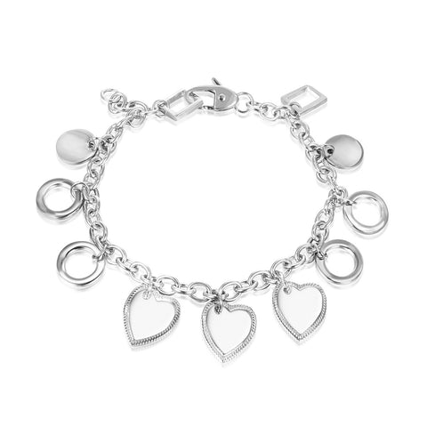 Stainless Steel Heart Chain Bracelet