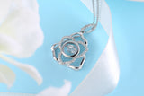 Sterling Silver Lily Flower Dancing Diamond Pendant Necklace
