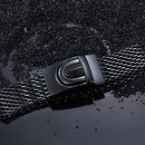 Distinctive Quadrate Fish Scale Black Titanium Steel Men's Bracelet