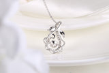 Sterling Silver Leaf and Flower Dancing Diamond Pendant Necklace