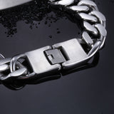 Totem Engraved Hook-ups Pattern Silver Titanium Steel Men's Bracelet