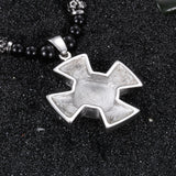 Cruciate Flower on Crisscross Titanium Steel Men's Necklace