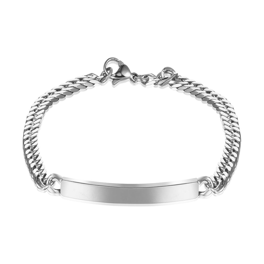 Personalized Silver Rectangle Spiral Chain Bracelet