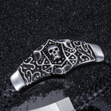 Skull Head Connected with Knitted Bell Titanium Steel Men's Bracelet