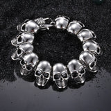Multiple Skull Head Joint Titanium Steel Men's Bracelet