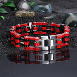 Distinctive Skull Head Drive-chain Pattern Titanium Steel Men's Bracelet