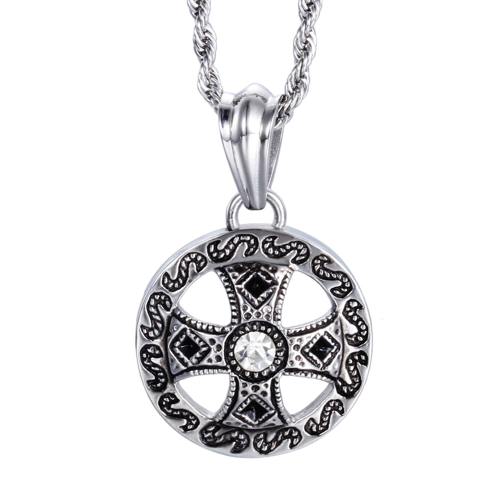 Crisscross Inside the Wheel Pattern Titanium Steel Men's Necklace