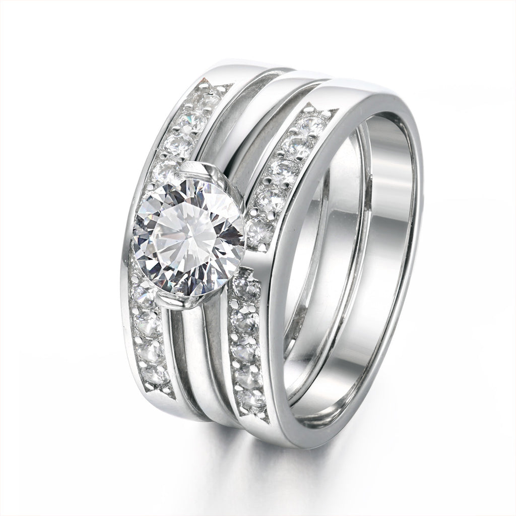 Exquisite Three-In-One Solitaire Women's Ring Set