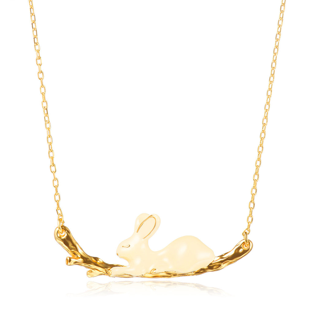 Enamel Running Rabbit Pendant Necklace