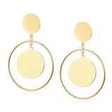 Gold Geometric Round Drop Earrings