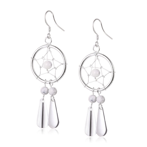 Dreamcatcher Silver Plated Drop Earrings