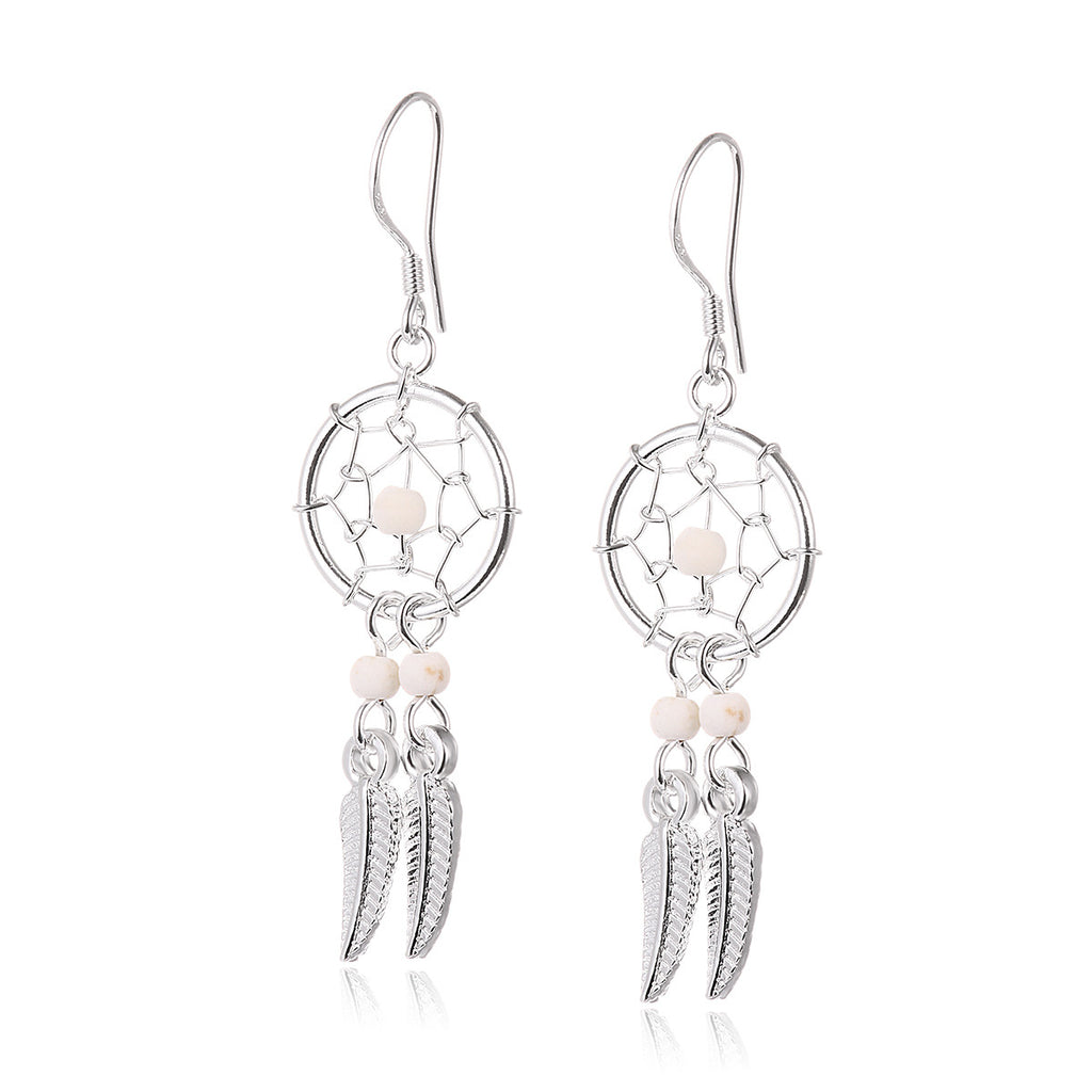 Dreamcatcher 925 Sterling Silver Drop Earrings