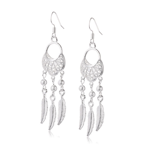 Hollow Silver Dreamcatcher Drop Earrings