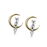 925 Sterling Silver Lovely Nekolus Above the Moon Earrings