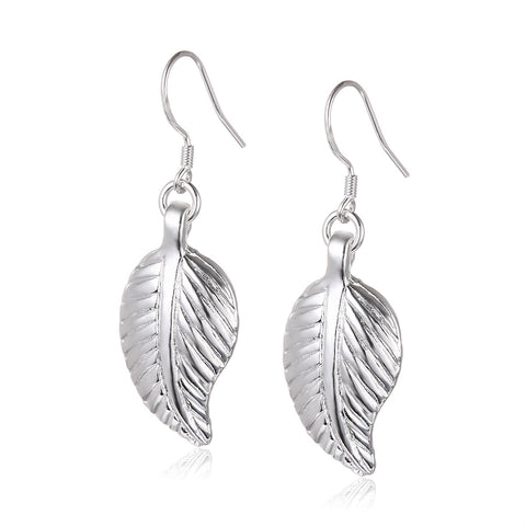 Leaves Silver Plated Drop Earrings