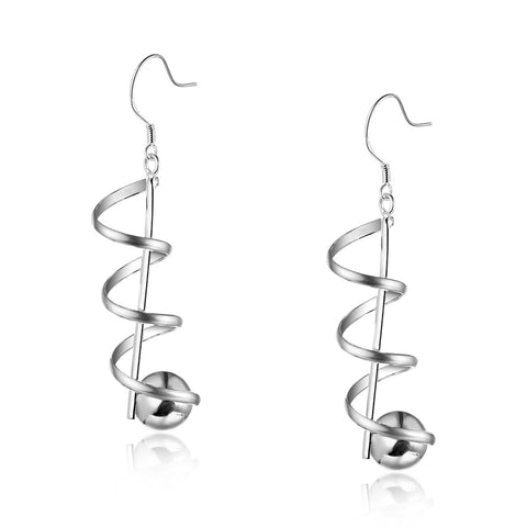 Spiral Silver Plated Women Drop Earrings
