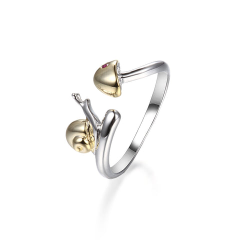 925 Sterling Silver Chasing Snail Ring