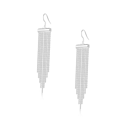 Silver Fringe Women Drop Earrings
