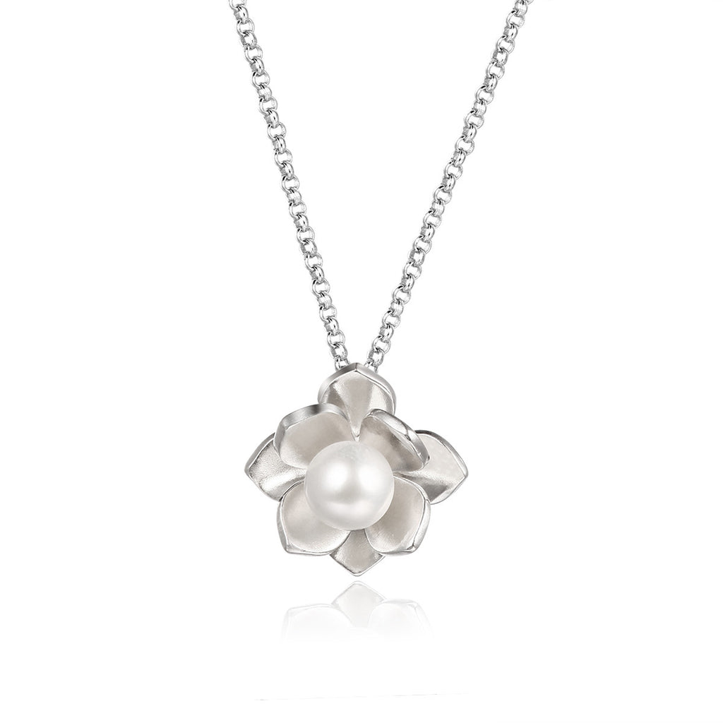 925 Sterling Silver/Pearl Princess' Flower Necklace