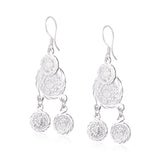 Silver Etched Coins Drop Earrings
