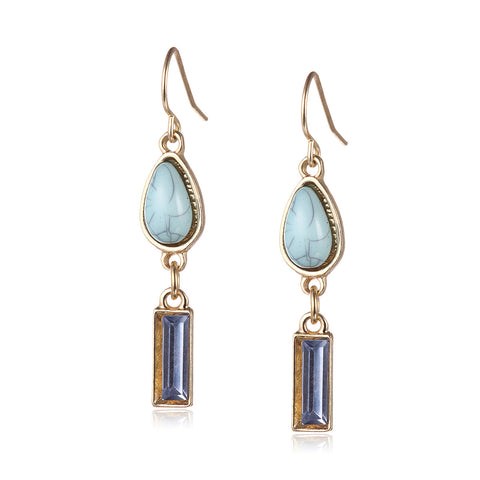 Gold Faux Turquoise Drop Earrings