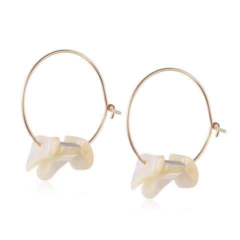 Gold Faux Stone Round Hoop Earrings