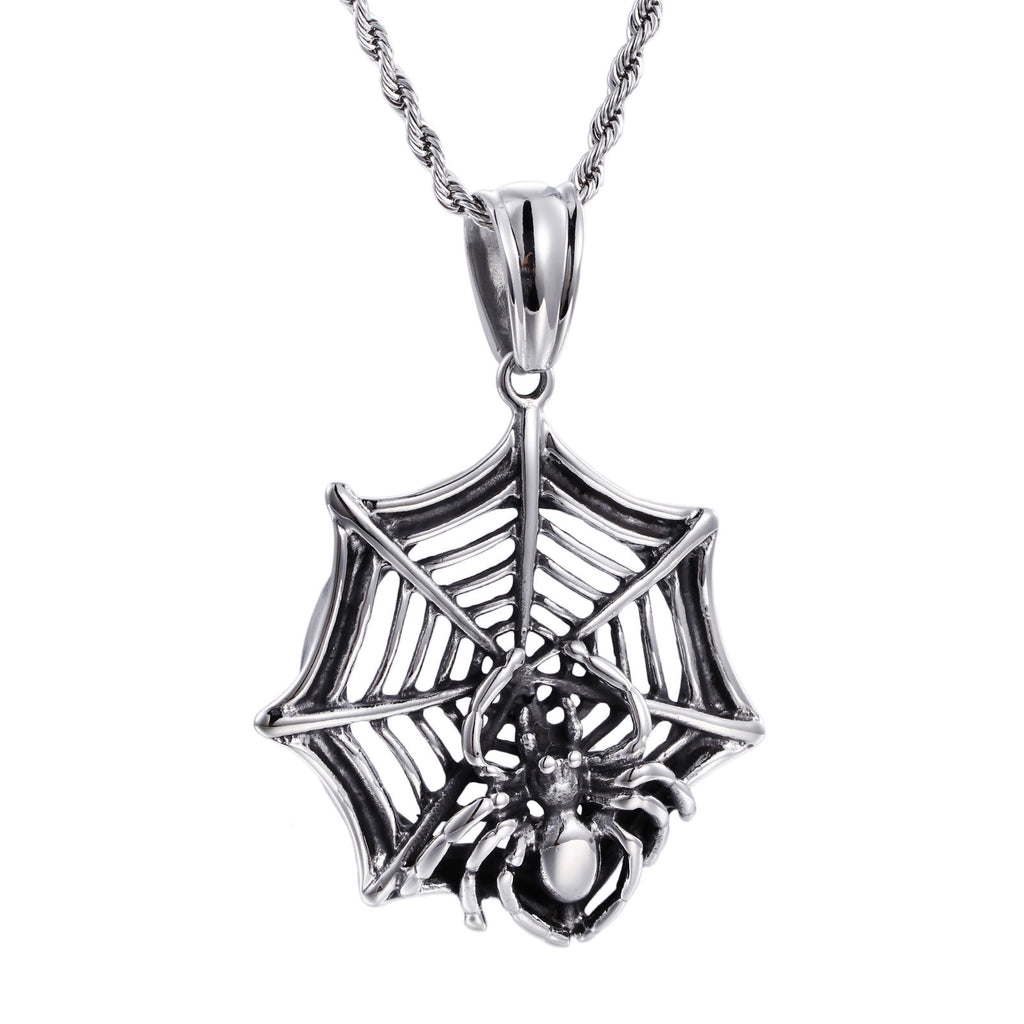 Spider on Web Pattern Titanium Steel Men's Necklace
