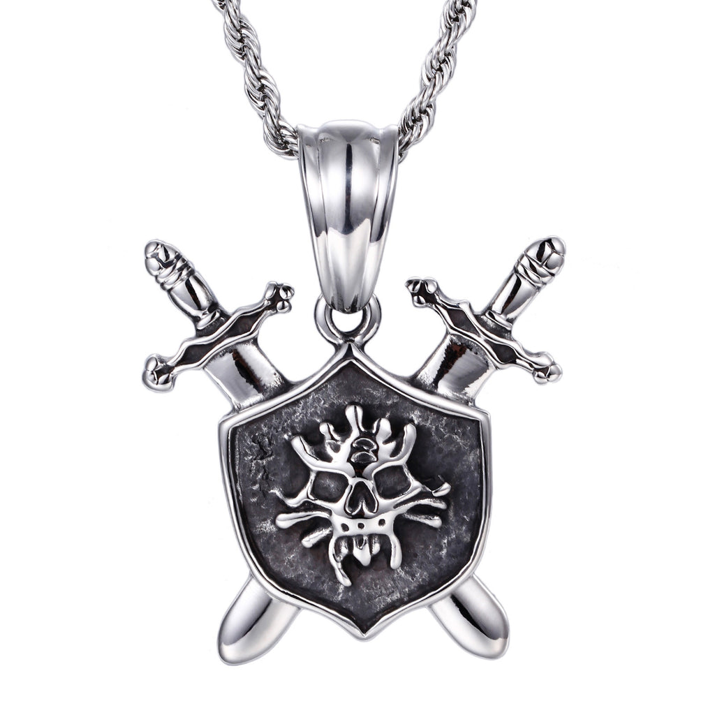 Double Swords and Shield Pattern Titanium Steel Men's Necklace