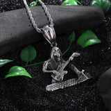Skeleton Playing the Guitar Titanium Steel Men's Necklace
