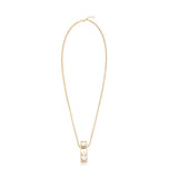 Rectangle Faux Marble Pendant Necklace