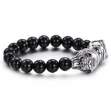 Vintage Tiger Head Pattern Bead Chain Men's Bracelet