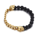 Joint Skull Head and Vesuvianite Stainless Steel Men's Bracelet