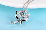 Sterling Silver Rose Floral Dancing Diamond Pendant Necklace