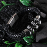 Distinctive Triple Skull Heads and Knitted Bell Stainless Steel Men's Bracelet