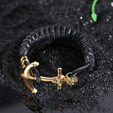 Delicate Anchor and Skeleton Head Stainless Steel Men's Bracelet
